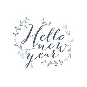 Carte de voeux Hello new year 3 photos bleu