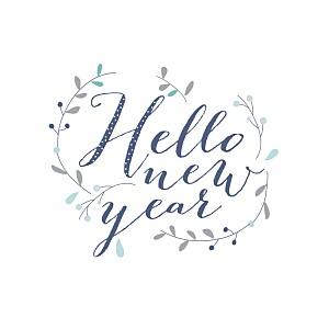 Carte de voeux bleu hello new year 3 photos bleu