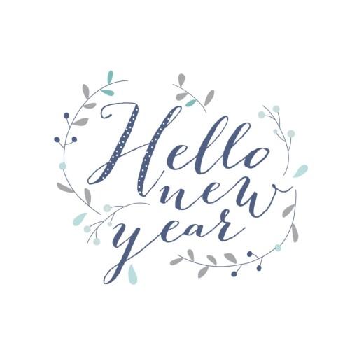 Carte de voeux Hello new year 3 photos bleu