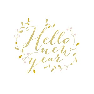 Carte de voeux Hello new year 3 photos jaune