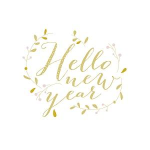Carte de voeux jaune hello new year 3 photos jaune