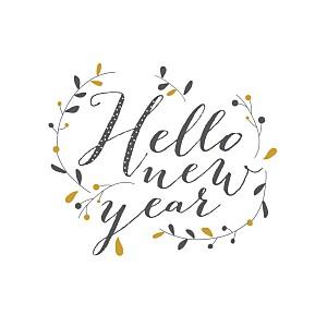 Carte de voeux gris hello new year 3 photos brun