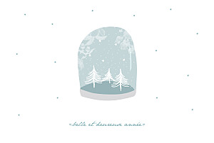 Carte de voeux my lovely thing  boule à neige 3 photos bleu