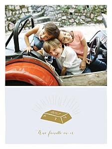 Affiche avec photo une famille en or bleu