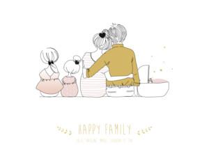 Affiche Lovely family 3 enfants (baby) filles