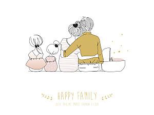 Affichette famille lovely family 3 enfants (baby) filles