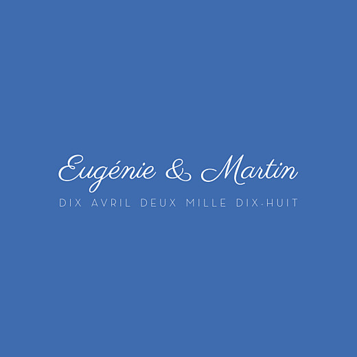 Carton d'invitation mariage Justifié contemporain bleu