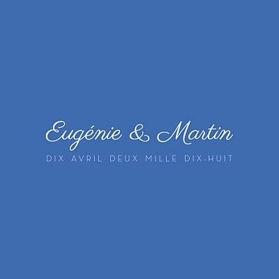 Carton d'invitation mariage Justifié contemporain bleu finition