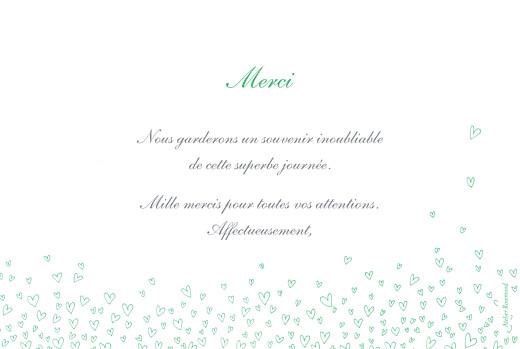 Carte de remerciement mariage Ronde de cœurs vert