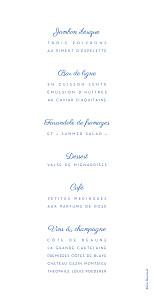 Menu de mariage Justifié contemporain rv bleu