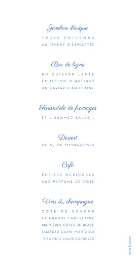Menu de mariage Justifié contemporain rv bleu - Page 2