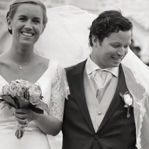 Carte de remerciement mariage L'annonce kraft & bleu-violet