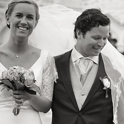 Carte de remerciement mariage L'annonce kraft & bleu-violet finition