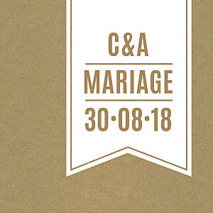 Etiquette de mariage marron l'annonce kraft & bleu-violet