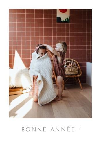 Carte de voeux Simple 1 photo portrait blanc