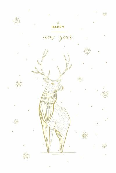 Carte de voeux Cerf photo blanc finition