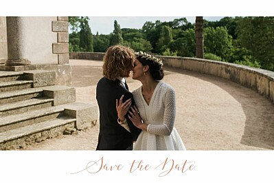 Save the Date Bandeau 1 photo paysage blanc finition