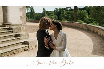 Save the Date Bandeau 1 photo paysage blanc finition