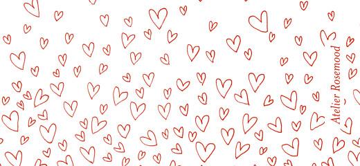 Etiquette de mariage Ronde de cœurs rouge