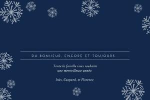 Carte de voeux Flocons de neige (dorure) bleu