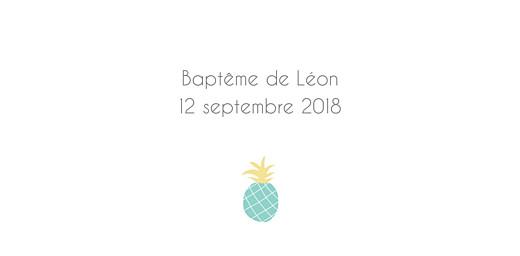 Marque-place Baptême Ananas vert
