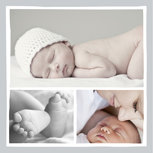 Faire-part de naissance Dandy 3 photos gris