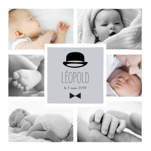 Faire-part de naissance Dandy 8 photos gris