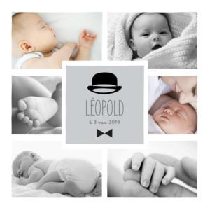 Faire-part de naissance Dandy 8 photos gris