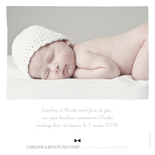 Faire-part de naissance Dandy 1 photo gris