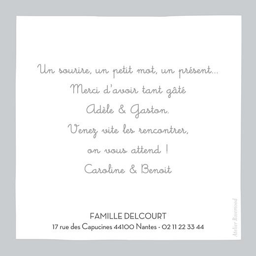 Carte de remerciement Merci dandy coquette gris - Page 2
