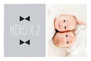 Carte de remerciement Merci jumeaux dandys photo gris