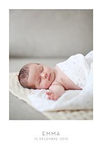 Faire-part de naissance classique élégant 1 photo portrait blanc