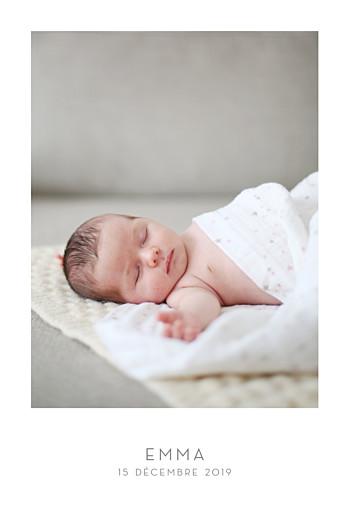 Faire-part de naissance Élégant 1 photo portrait blanc