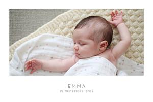 Faire-part de naissance classique élégant 1 photo paysage blanc