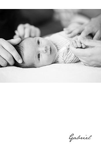 Faire-part de naissance Bandeau 1 photo portrait blanc