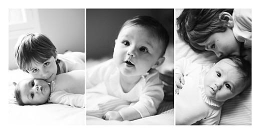 Faire-part de naissance 3 photos (panoramique) blanc