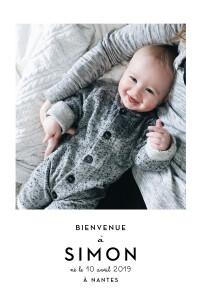 Faire-part de naissance Original 2 photos portrait blanc