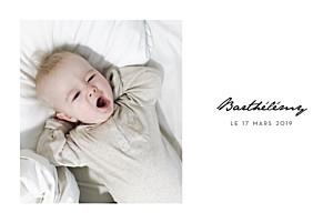 Faire-part de naissance avec photo un joli mot paysage blanc