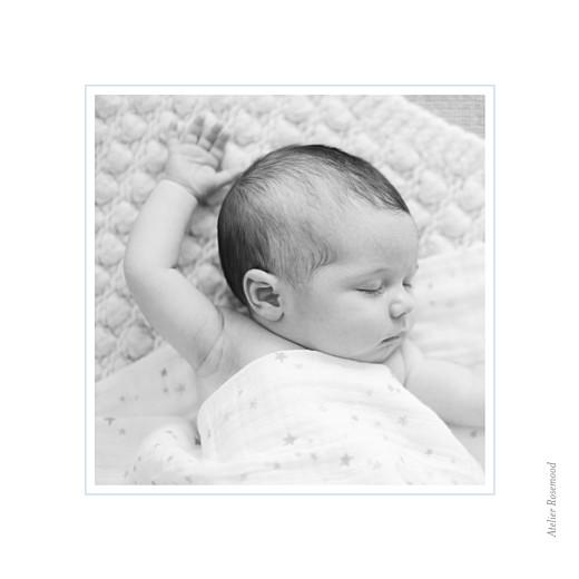 Faire-part de naissance Comptine 4 photos triptyque bleu