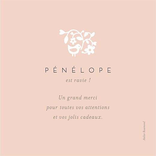 Carte de remerciement Petite comptine photo rose