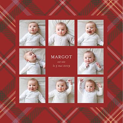 Faire-part de naissance Tissu écossais 8 photos rouge finition