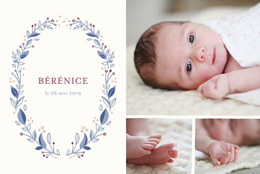 Faire-part de naissance Médaillon fleuri 3 photos rv bleu