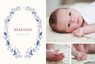 Faire-part de naissance Médaillon fleuri 3 photos rv bleu finition