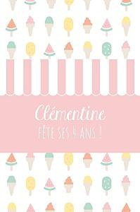 Carte d'anniversaire fille ice cream photo rose