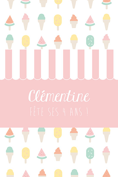 Carte d'anniversaire Ice cream photo rose finition