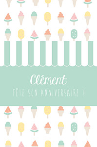 Carte d'anniversaire vert ice cream photo vert d'eau