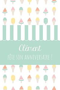 Carte d'anniversaire blanc ice cream photo vert d'eau