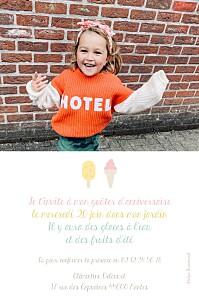 Carte d'anniversaire Ice cream photo rose