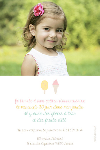 Carte d'anniversaire Ice cream photo rose - Page 2