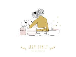 Affiche rose lovely family 2 enfants (baby) filles